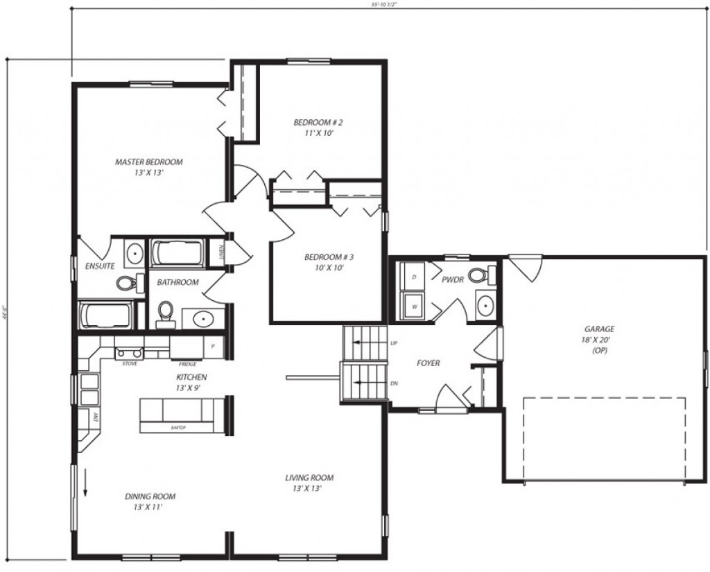 Essex es443 1 333 sq ft split level custom built modular for Open concept bungalow floor plans